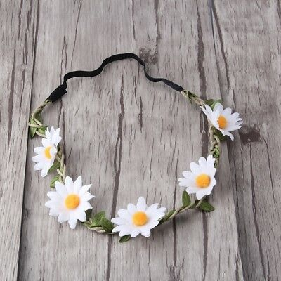 White Daisy Flower Headband Hair Band Crown, Boho Hippie Festival Style, Rave - Flower Hippy
