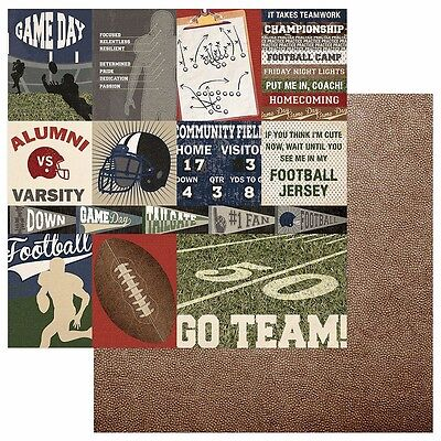 2 Sheets Photo Play END ZONE Football 12x12 Scrapbook Paper - Go Team