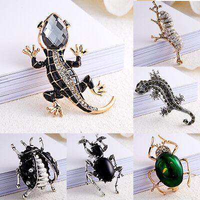 Retro Women Men Lizard Beetle Rhinestone Crystal Brooch Pin Jewelry Gifts -
