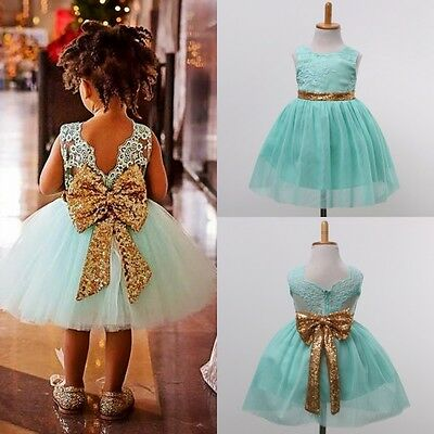US Boutique Sequin Kids Girl Princess Party Wedding Bridesmaid Formal Gown Dress
