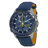 Citizen Eco Drive Blue Angels World Chronograph Leather Mens Watch AT8020-03L