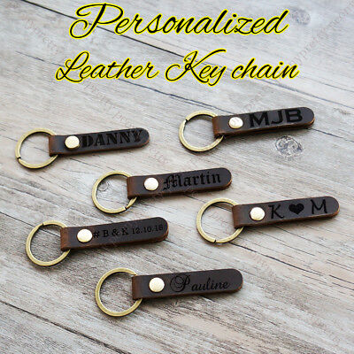 Personalized Retro Leather Keychain Custom Engraving Keyring Wedding Love - Custom Engraved Keychains