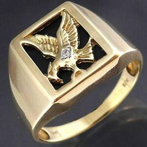 Rare HUGE Solid 9ct Yellow Gold Onyx and Diamond Eagle Ring, NO NEG
