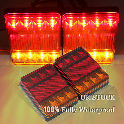 2x 12V 8LED CARAVAN VAN TRUCK LORRY TRAILER REAR TAIL STOP LIGHTS INDICATOR LAMP