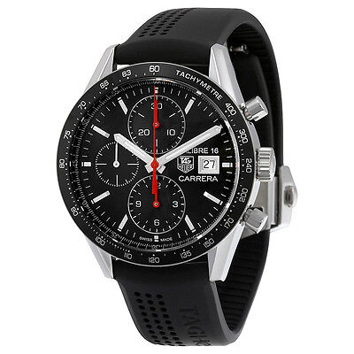 Tag Heuer Carrera Chronograph Automatic Black Dial Black Rubber Mens Watch
