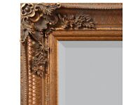 VERY LARGE ORNATE GOLD FRAMED MIRROR