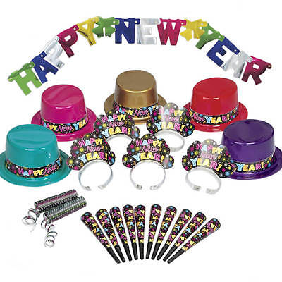 New Years Eve Party Supply Kit for 10 Tiaras Top Hats Horns Banner Spiral Throws](New Years Eve Party Kit)