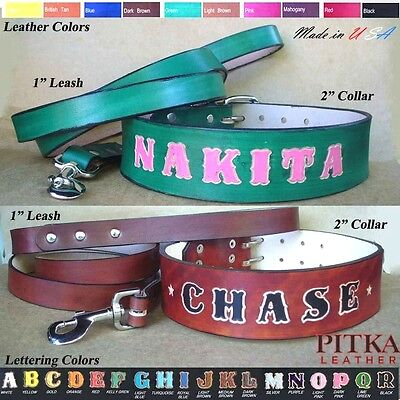 XXL Dog Leather Collars and Leashes with Name - Best Collars for Big Dogs - (Best Dog Leash For Big Dogs)