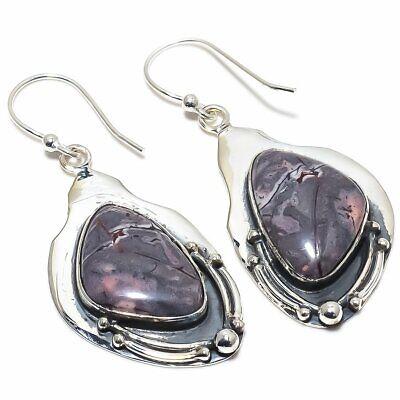 """Porcelain Jasper Gemstone Handmade Ethnic .925 Silver Earring 2.0"""""""
