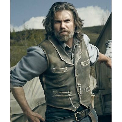 Men's Hell on Wheels Celebrity Vest Halloween Cullen Bohannan Real Leather