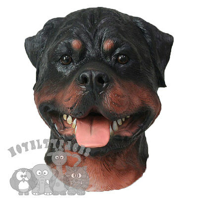 Latex Realistic Animal Rottweiler Dog Head Fancy Dress Carnival Stag Party - Rottweiler Kostüm
