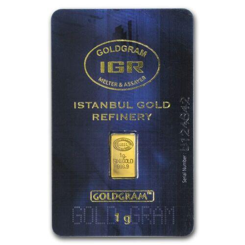 1 Gram 999.9 Fine Gold Bullion Bar IGR Istanbul GOLDGRAM in Assay