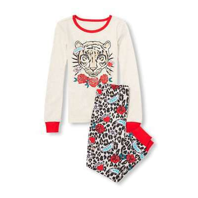 NWT The Childrens Place Glitter Tiger Girl Long Sleeve Pajamas Set 8 10 12 14 16