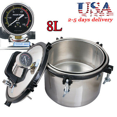 Us Ship Security Stainless Steel Dental High-pressure Steam Sterilizer 8l