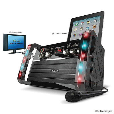 NEW PORTABLE AKAI CD+G PLAYER KARAOKE MACHINE SYSTEM with COLOR LED LIGHTS