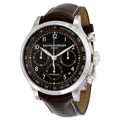 Baume and Mercier Capeland Brown Leather Mens Watch MOA10067