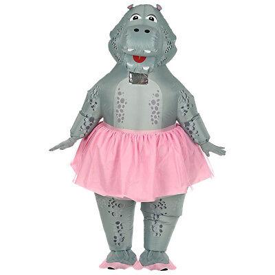 AUFBLASBARES HIPPO BALLERINA KOSTÜM Karneval Nilpferd Flusspferd Gag Party - Fluss Kostüm