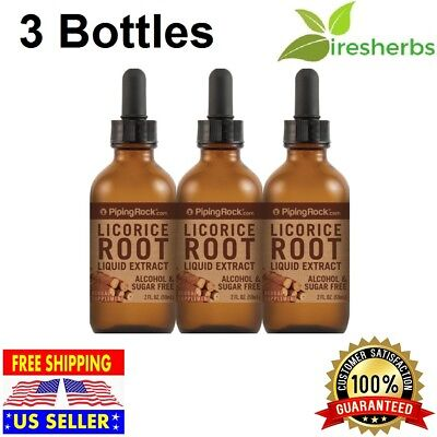 3X LICORICE ROOT LIQUID EXTRACT Herbal Supplement ALCOHOL & SUGAR FREE 100% Pure
