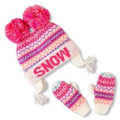 THE CHILDREN'S PLACE GIRL 2PC SNOW NEON FAIR ISLE HAT MITTEN