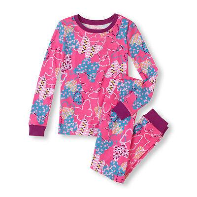 TCP GIRLS 2PC BUTTERFLIES HEARTS PINK L/S COTTON PAJAMAS TOP PANTS SET 4 6 Butterflys Girls Cotton Pajamas