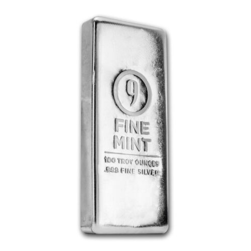 Купить 100 oz Silver Bar - 9Fine Mint - SKU #176487