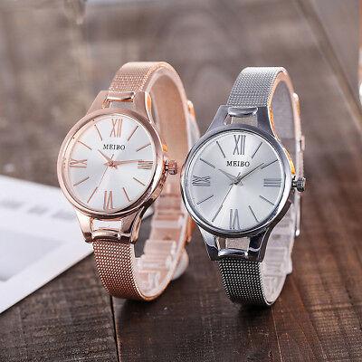 Women's Thin Quartz Stainless Steel Round New Strap Watch Analog Wrist Watches
