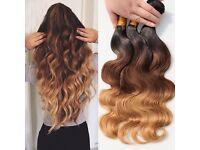 "Brazilian Body Wave Virgin Human Hair Ombre 3 bundles, 300g 14""16""18"""