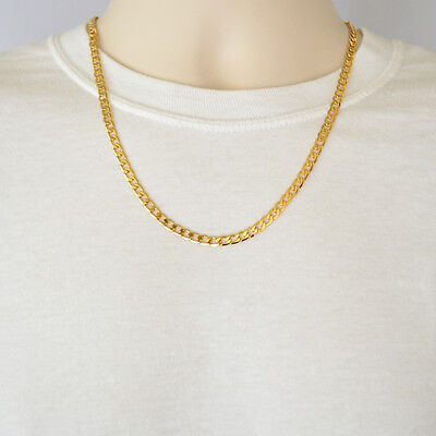 24K Yellow Gold Plated Curb Chain 5mm Cuban Style Link Men's Necklace 22 Inches