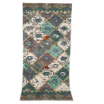 2x6 foot Thin Playful Tribal Multi Colored Embroidered and Pom Cotton runner rug ()