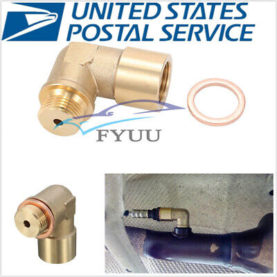 Universal 90° Angled Brass O2 Oxygen Sensor Extender Spacer M18*1.5
