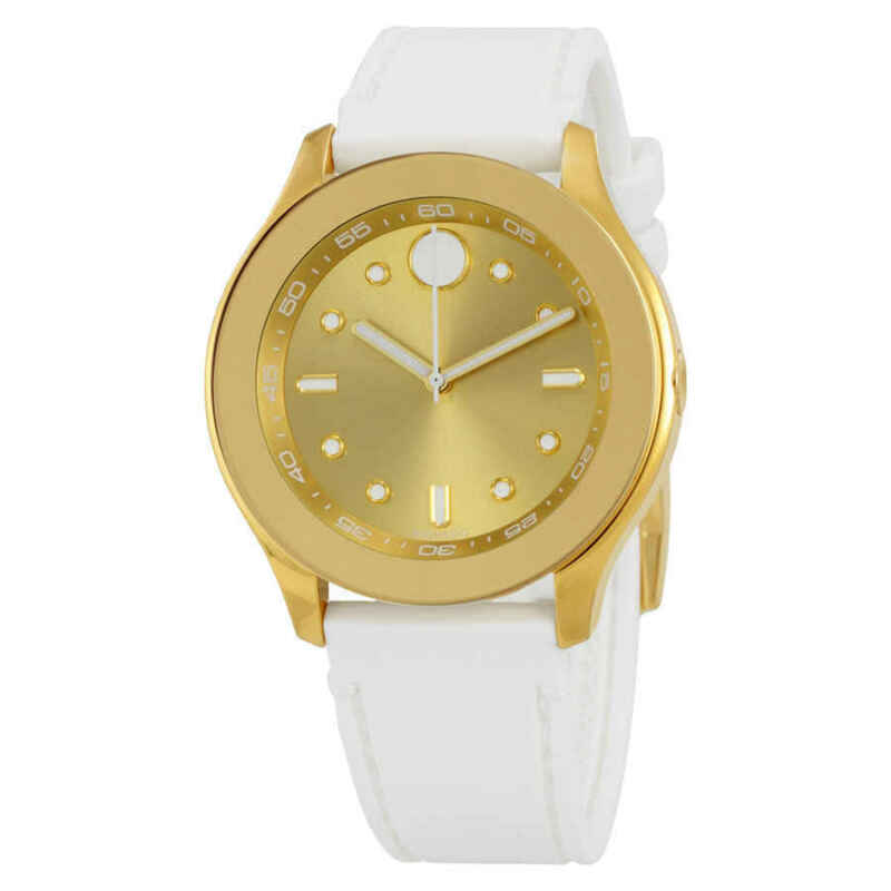 Movado-Bold-Gold-Dial-White-Silicone-Ladies-Watch-3600410