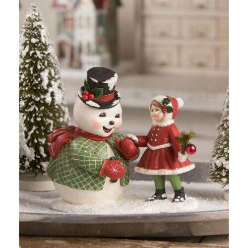 Bethany Lowe Hello Old Friend Snowman Girl Christmas Village Retro Vntg Figurine