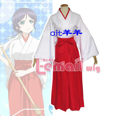 Love live Nozomi Tojo Miko Cosplay Costume Red/White Miko Clothing With Headband
