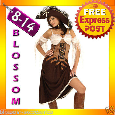 J73 Ladies Brown Caribbean Pirate Wench Outfit Fancy Dress Halloween Costume Pirate Wench Outfit