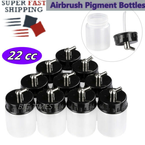 10 Pcs Airbrush Pigment Bottles Dual Action Jars Lid Siphon Feed Paint Cup 22 cc