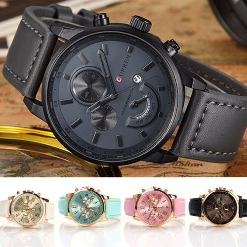 Купить Unbranded - Fashion Men Women's Stainless Steel Leather Bracelet Analog Quartz Wrist Watch