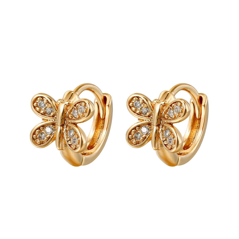 18k Gold Plated Tiny Small Butterfly Clear Crystal Baby Girl Huggie Earrings 9mm