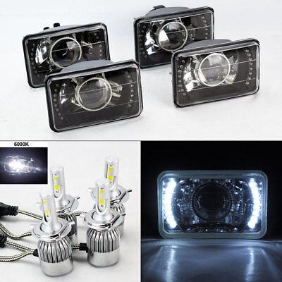 "FOUR 4x6"" Glass Black Chrome Projector DRL Headlights w/ 6K 36W LED H4 Bulbs GMC"