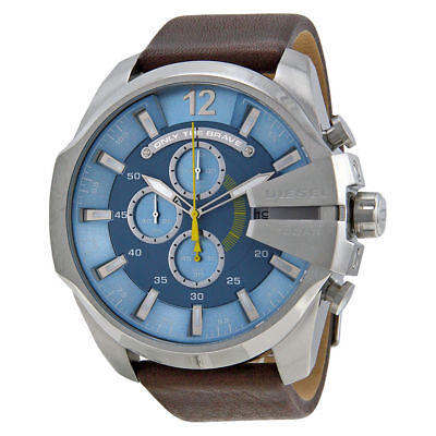 Diesel Mega Chief Chronograph Light Blue Dial Brown Leather DZ4281 without  box