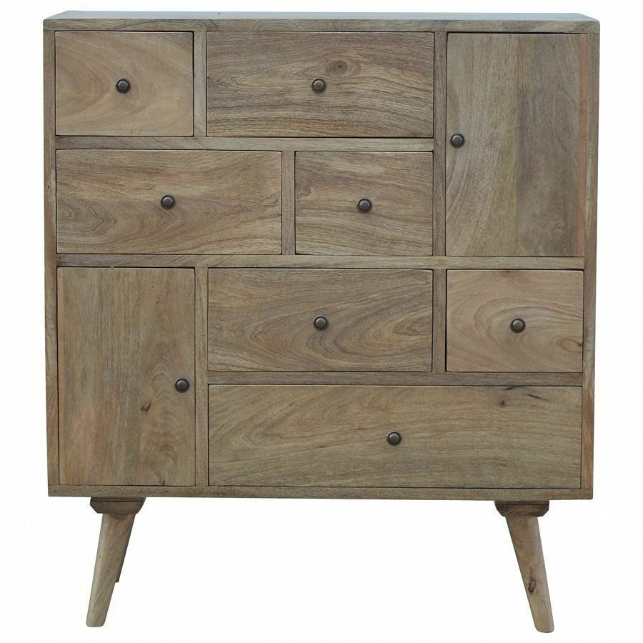 Mid Century Modern Solid Wood Multi Drawer Chest Cabinet