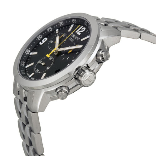 prc 200 chronograph black dial stainless steel mens watch