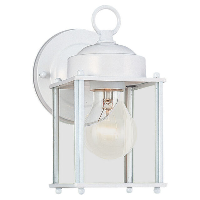 Portfolio 8.25 In H White Outdoor Wall Light Sconce Porch Lantern Fixture  Lamp
