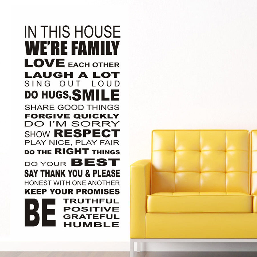 Wonderful Family House Rules III Wall Stickers Decal Removable Art Vinyl Decor Home  Kids A | EBay Part 26