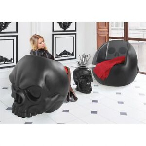 SINGLE: Matte Black Skull Gothic Furniture Art Oversized Skull Seat Chair  Decor
