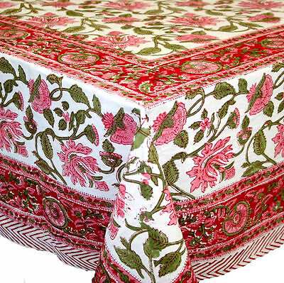 Handmade Lotus Flower Block Print 100% Cotton Tablecloth Red 60x90 Rectangular
