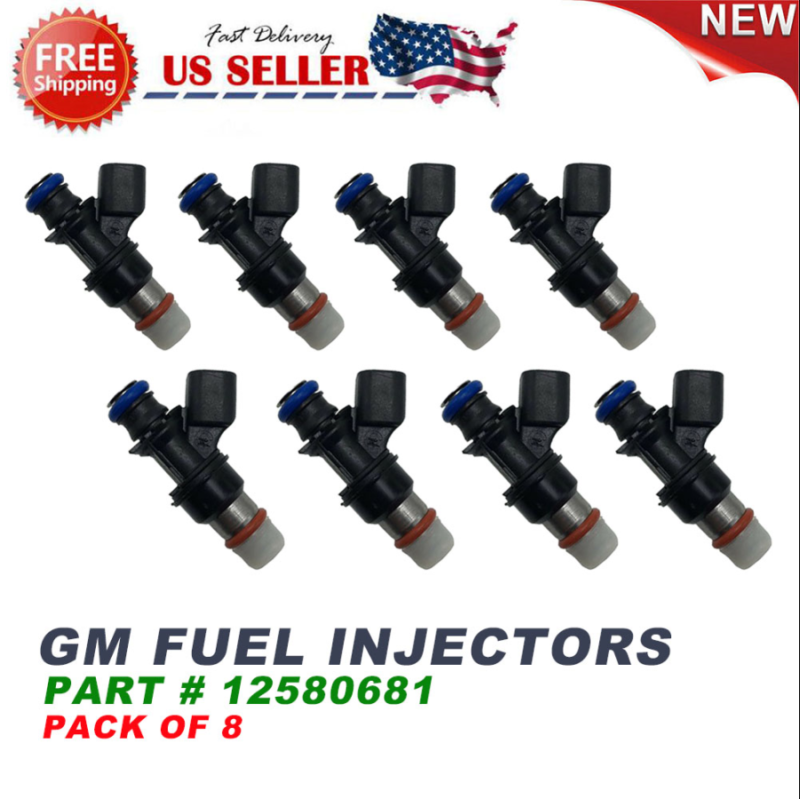 8pcs OEM Fuel Injector for 2004-2010 Chevy GMC 4.8 5.3 6.0 6.2 12580681