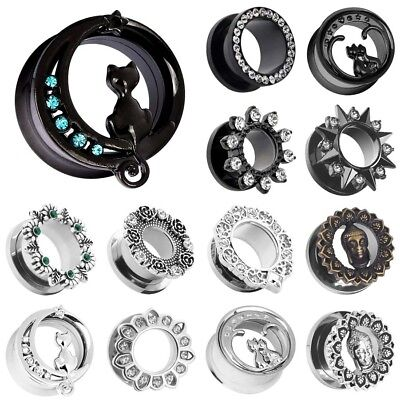 (PAIR-Mix-Style STAINLESS STEEL SCREW EAR GAUGES-SINGLE FLARED FIT FLESH TUNNELS)