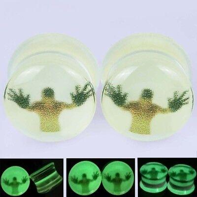 Glow in the Dark Single Flare Acrylic Plugs Ear Gauges Silhouette Flesh Tunnels - Glow In The Dark Ears