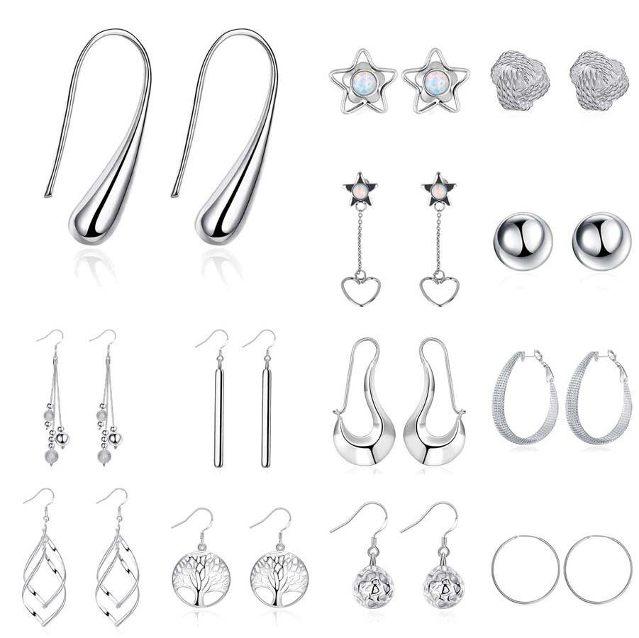 Earrings - Ladies Fashion Jewelry Stainless Steel Silver Plated Dangle Hoop Earrings Studs