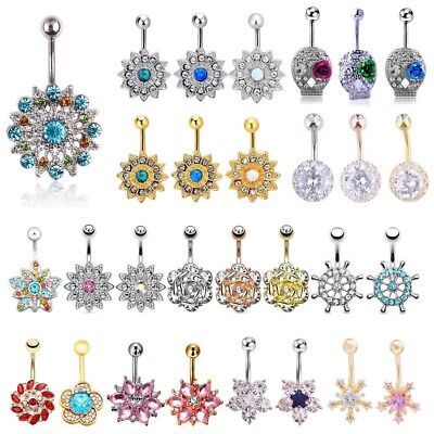 Crystal Flower & Opalite Belly Button Ring Navel Banana Barbell Body Piercing Crystal Flower Belly Ring